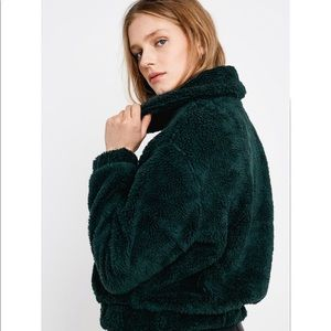 Urban outfitters green crop teddy jacket